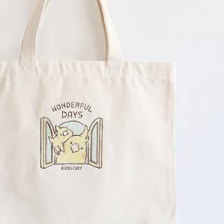 刺繍トートバッグ(WONDERFUL DAYS / オカメインコ / ルチノー)