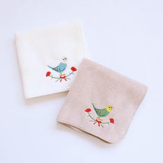 刺繍ミニタオル(セキセイインコ / カーネーション)