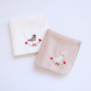 刺繍ミニタオル(文鳥 / カーネーション)
