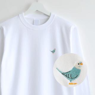 刺繍長袖Tシャツ(BIRD!BIRD!BIRD! / セキセイインコ / ブルー)
