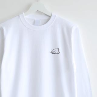 長袖刺繍Tシャツ(おひるね / コザクラインコ)