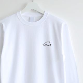 長袖刺繍Tシャツ(おひるね / 文鳥)