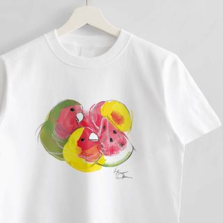 Tシャツ(オクムラミチヨ / コザクラインコさんとすいかとすもも)