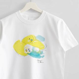 Tシャツ(オクムラミチヨ / セキセイインコさんとレモン)