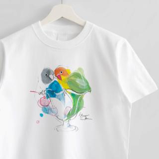 Tシャツ(オクムラミチヨ / ボタンインコさんとパフェ)