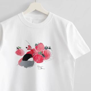 Tシャツ(オクムラミチヨ / 文鳥さんといちご)