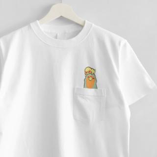 刺繍Tシャツ(WONDERFUL DAYS / コザクラインコ)