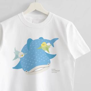 Tシャツ(BIRDAQUARIUM / セキセイインコ&ジンベエザメ)