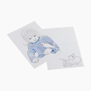 少女とオカメインコ ポストカード
