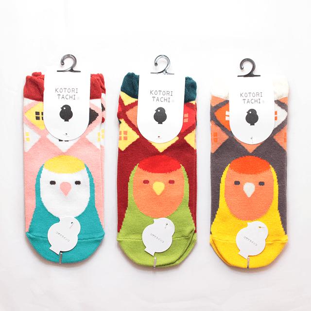 鳥顔フリル靴下(コザクラインコ)