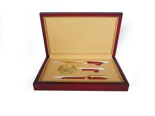 天然木ブビンガ ディスクアクセサリーセット(ルーペ、ボールペン、ペーパーナイフの一式セット)