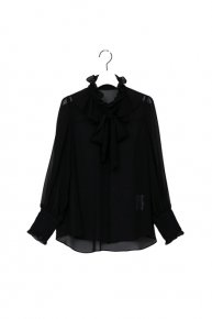 frill frill bowtie blouse/ black  </a> <span class=