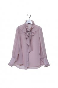 frill frill bowtie blouse/ grage  </a> <span class=