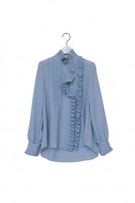 pleats frill blouse/ blue