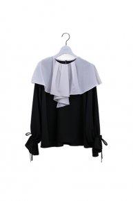 new:cape blouse/black×white (5/11 21:00-再入荷)