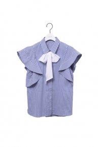 new:frill bowtie shirt/blue stripe×white (5/11 21:00-再入荷)