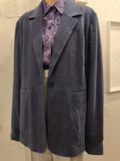 Vintage Faux Suede Tailored Jacket Blue Grey<img class='new_mark_img2' src='https://img.shop-pro.jp/img/new/icons50.gif' style='border:none;display:inline;margin:0px;padding:0px;width:auto;' />