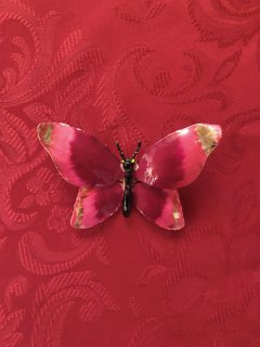 Vintage Wine Red/Pink Butterfly Brooch
