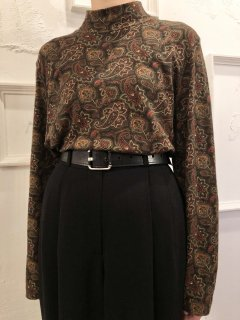 Vintage Paisley Print Mockneck Brown M<img class='new_mark_img2' src='https://img.shop-pro.jp/img/new/icons50.gif' style='border:none;display:inline;margin:0px;padding:0px;width:auto;' />
