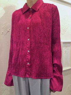 Vintage Magenta Wrinkle Satin Shirt L