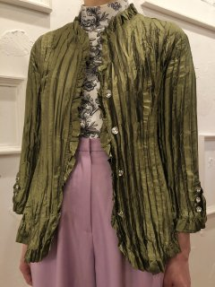 Vintage Pleated Moss Green Satin Shirt M<img class='new_mark_img2' src='https://img.shop-pro.jp/img/new/icons50.gif' style='border:none;display:inline;margin:0px;padding:0px;width:auto;' />