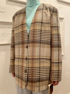 Vintage/Deadstock Plaid Collarless Tailored Jacket sizeL<img class='new_mark_img2' src='https://img.shop-pro.jp/img/new/icons50.gif' style='border:none;display:inline;margin:0px;padding:0px;width:auto;' />