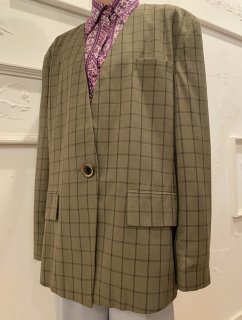 Vintage Olive Plaid Collarless Tailored Jacket sizeXL<img class='new_mark_img2' src='https://img.shop-pro.jp/img/new/icons50.gif' style='border:none;display:inline;margin:0px;padding:0px;width:auto;' />