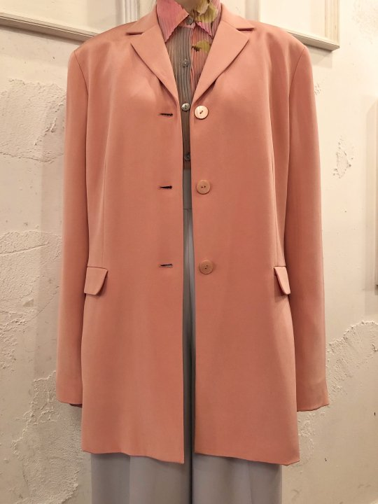 Vintage Pale Orange Silk Tailored Jacket M