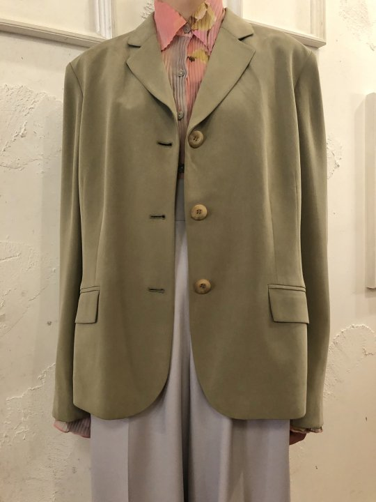 Vintage Moss Green Silk Tailored Jacket L<img class='new_mark_img2' src='https://img.shop-pro.jp/img/new/icons50.gif' style='border:none;display:inline;margin:0px;padding:0px;width:auto;' />