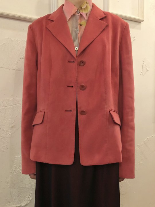 Vintage Faux Suede Tailored Jacket M-L<img class='new_mark_img2' src='https://img.shop-pro.jp/img/new/icons50.gif' style='border:none;display:inline;margin:0px;padding:0px;width:auto;' />