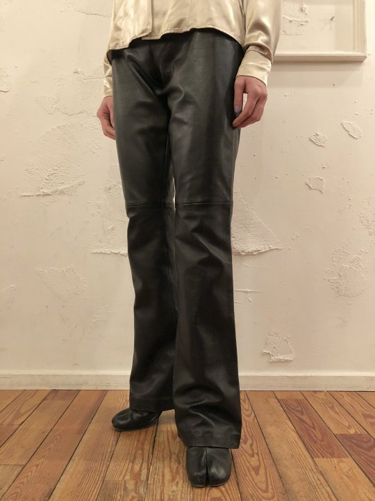 Vintage Belt Design Black Leather Flare Pants S