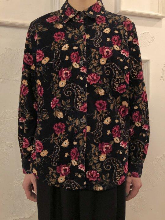Vintage Floral Print Corduroy Shirt Black S