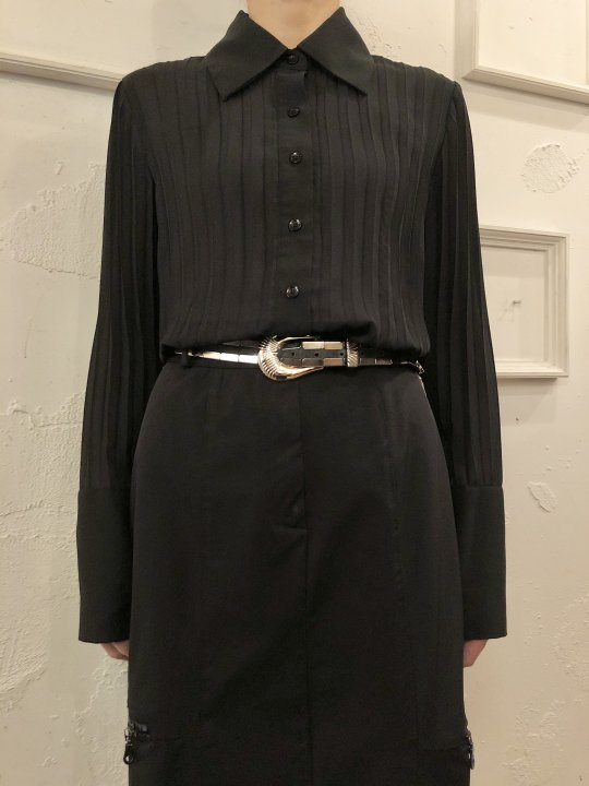 Vintage Black Accordion Pleat Shirt S