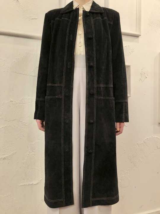 Vintage/Deadstock Black Suede Long Coat S