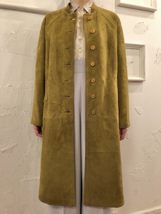Vintage Green Gold Nubuck Coat M