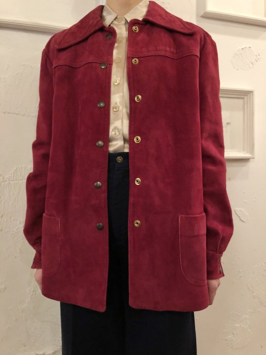 Vintage Wine Red Nubuck Coat M<img class='new_mark_img2' src='https://img.shop-pro.jp/img/new/icons50.gif' style='border:none;display:inline;margin:0px;padding:0px;width:auto;' />