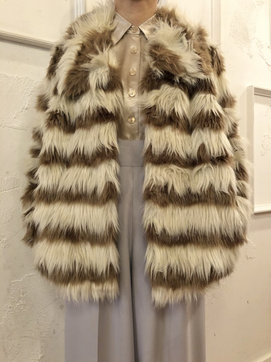 Vintage Stripe Faux Fur Short Coat L