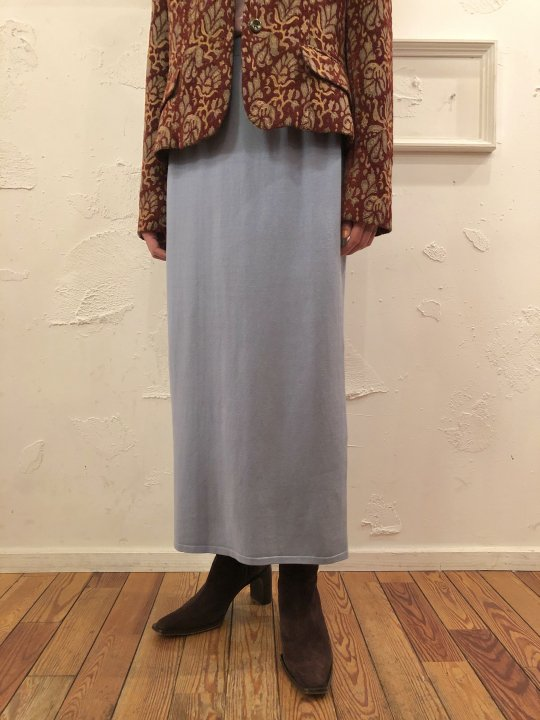 Vintage Blue Gray Long Knit Skirt S<img class='new_mark_img2' src='https://img.shop-pro.jp/img/new/icons50.gif' style='border:none;display:inline;margin:0px;padding:0px;width:auto;' />