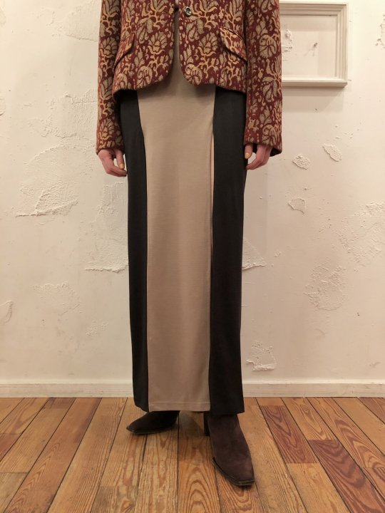 Vintage/Deadstock Black/Beige Double Slit Skirt S<img class='new_mark_img2' src='https://img.shop-pro.jp/img/new/icons50.gif' style='border:none;display:inline;margin:0px;padding:0px;width:auto;' />