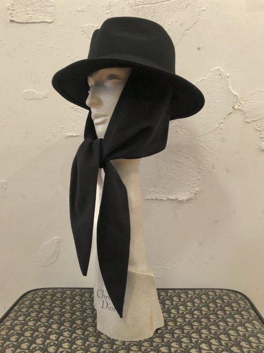 Vintage Black Scarf Tie Hat S-M