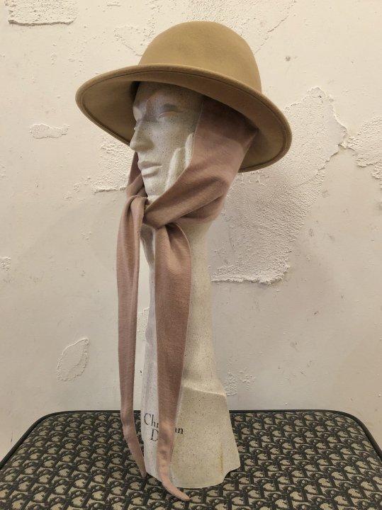 Vintage Beige Scarf Tie Hat M