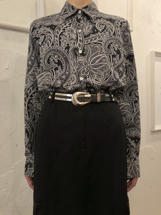 Vintage Paisley Print Shirt Black S<img class='new_mark_img2' src='https://img.shop-pro.jp/img/new/icons50.gif' style='border:none;display:inline;margin:0px;padding:0px;width:auto;' />