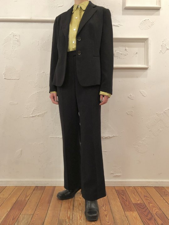 Vintage Black Stripe Set Up (Flare Pants) M