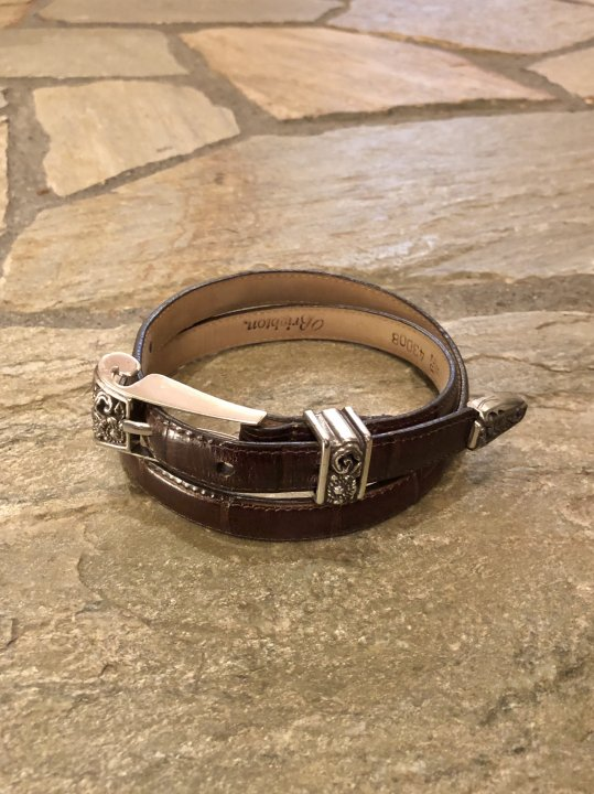 Vintage Brown Leather Narrow Belt S