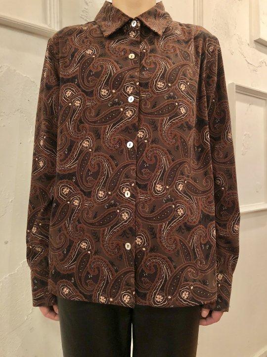 Vintage Paisley Print Moleskin Shirt Brown M/L
