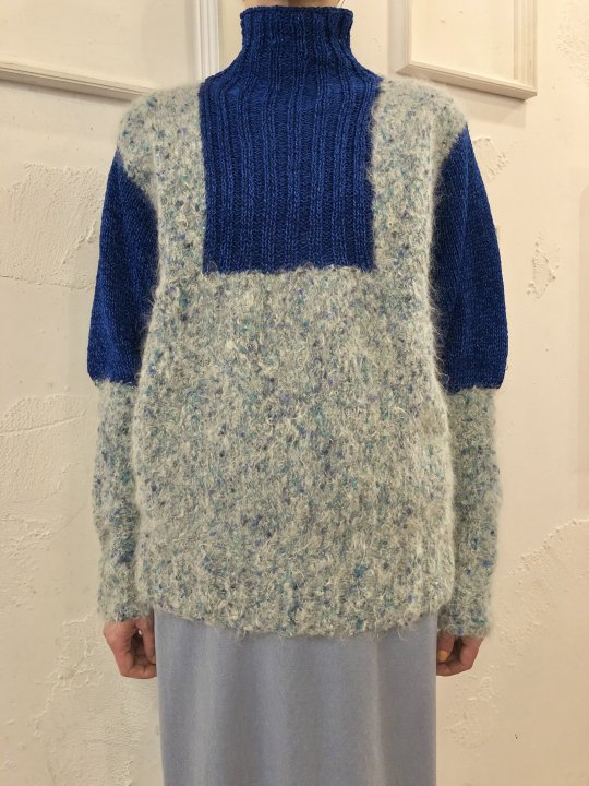 Vintage Mohair Panel Highneck Sweater Blue M<img class='new_mark_img2' src='https://img.shop-pro.jp/img/new/icons50.gif' style='border:none;display:inline;margin:0px;padding:0px;width:auto;' />