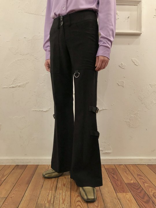 Vintage Belt Design Flare Pants M<img class='new_mark_img2' src='https://img.shop-pro.jp/img/new/icons50.gif' style='border:none;display:inline;margin:0px;padding:0px;width:auto;' />