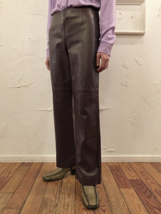 Vintage Dark Purple Leather Flare Pants L