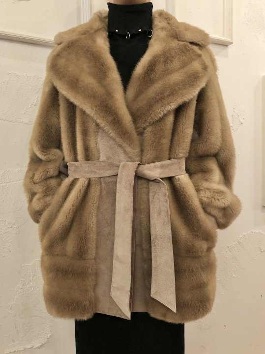 Vintage Suede Panel Design Faux Fur Coat M<img class='new_mark_img2' src='https://img.shop-pro.jp/img/new/icons50.gif' style='border:none;display:inline;margin:0px;padding:0px;width:auto;' />