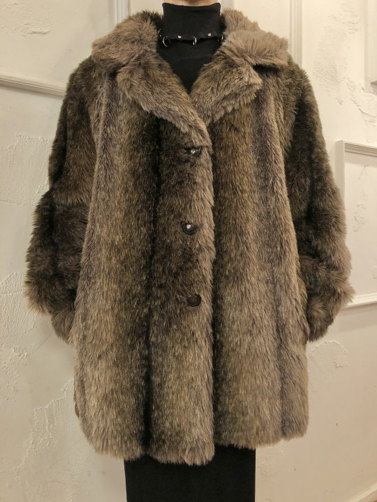 Vintage Faux Fur Coat Dark Brown M-L